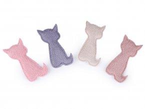 Textilní aplikace / plastická nášivka kočka k dozdobení