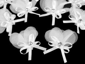 Monofilový květ / kotilion s kamínkem a mašličkou