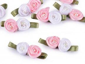 Saténové růže s perlou 11x30 mm