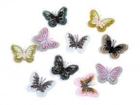 Vyšívaná aplikace / nášivka motýl s lurexem