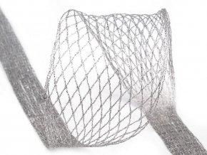 Vánoční tvarovací síťka / stuha s lurexem a drátem