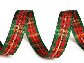 Károvaná stuha s lurexem šíře 15 mm vánoční