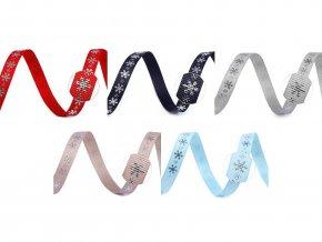 Rypsová stuha vločky šíře 10 mm vánoční