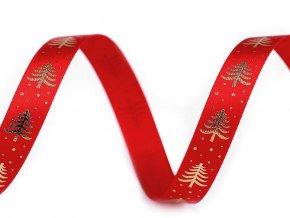 Saténová stuha stromeček šíře 10 mm vánoční