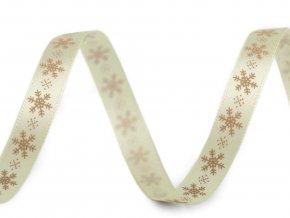 Saténová stuha vločky šíře 10 mm vánoční