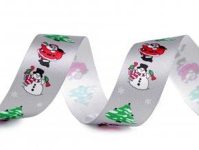 Vánoční saténová stuha Santa, sněhulák, stromeček šíře 26 mm