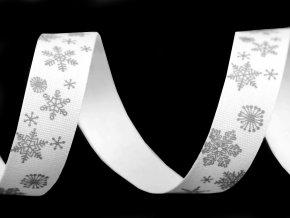 Bavlněná stuha vločky šíře 15 mm vánoční