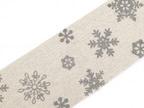 Lněná stuha vločky šíře 63 mm řezaná, vánoční