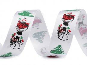 Vánoční saténová stuha Santa, sněhulák, stromeček šíře 26 mm 2. jakost