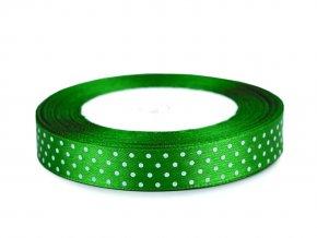 Saténová stuha s puntíky šíře 15 mm