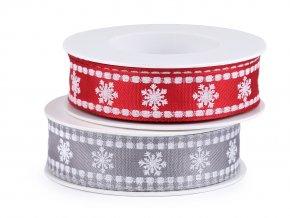 Vánoční stuha vločky s drátem šíře 25 mm