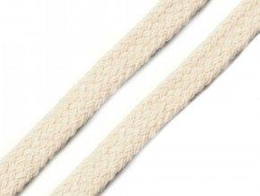 Bavlněná šňůra plochá / dutinka šíře 10 mm