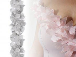 Prýmek lístky / květy na monofilu šíře 100 mm s perleťovým efektem