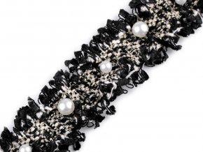 Prýmek s perlami a lurexem šíře 30 mm