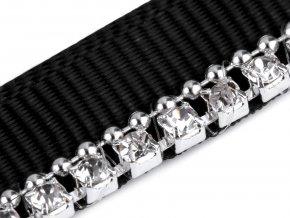 Prýmek / paspulka šíře 9 mm se štrasem a řetízkem