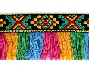 Prýmek indiánský s třásněmi šíře 45 mm