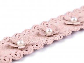 Prýmek květ s perlou - imitace broušené kůže šíře 38 mm