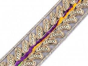 Prýmek / vzorovka s listy a flitry na monofilu šíře 35 mm