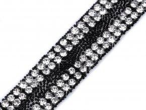 Prýmek se skleněnými broušenými kamínky šíře 13 mm nažehlovací