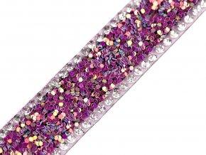 Prýmek s glitry a skleněnými broušenými kamínky šíře 15 mm nažehlovací
