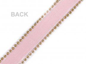 Prýmek sametový se skleněnými broušenými kamínky šíře 15 mm nažehlovací
