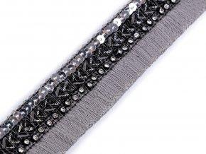 Víceřadý prýmek / třásně s flitry a broušenými kamínky šíře 30 mm