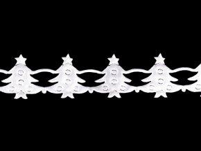 Vánoční saténový prýmek šíře 19 mm stromečky