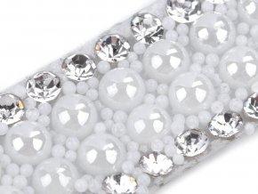 Prýmek s perlami a skleněnými broušenými kamínky šíře 10 mm nažehlovací