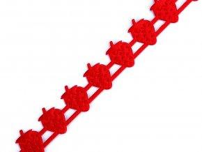 Saténový prýmek šíře 17 mm jahody