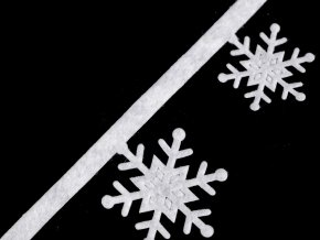 Vánoční vysekávaný prýmek vločky šíře 35 mm