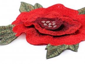 Velká vyšívaná aplikace růže 3D