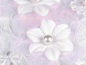 Aplikace / vsadka na monofilu s 3D květy a perlami 11x28 cm