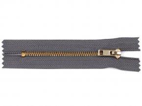 Kovový / mosazný zip šíře 4 mm délka 10 cm kalhotový