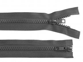 Zip kostěný 5 mm dělitelný 2 jezdce 70 cm bundový