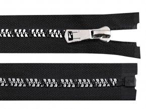 Zip kostěný se stříbrno-černými zoubky šíře 8 mm délka 70 cm