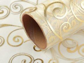 Vánoční / svatební organza s potiskem šíře 36 cm