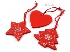 Dřevěná vánoční dekorace sada 3 ks