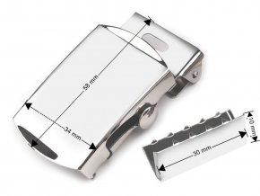 Kovová spona 30 mm na opasek s koncovkou