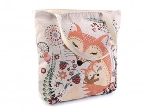 Lněná taška kočka, liška, sova 43x44 cm