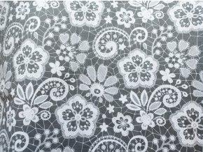 Plátno Bílá krajka na šedé