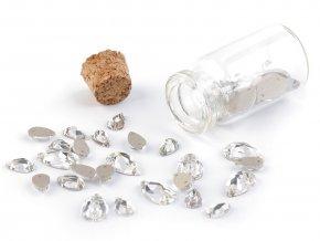 Broušené kamínky kapky našívací mix v lahvičce
