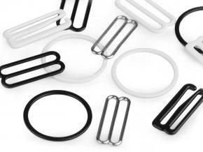 Háček, kroužek a posunovač na prádlo šíře 25 mm kovový