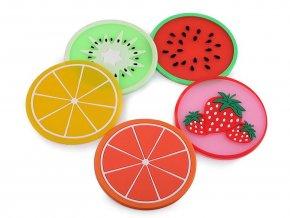 Silikonová podložka citrón, pomeranč, meloun, kiwi, jahoda Ø9 cm