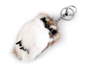 Kožešinový přívěsek na kabelku / klíče sova