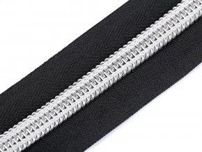 Zip spirálový šíře 10 mm metráž se stříbrnými zoubky