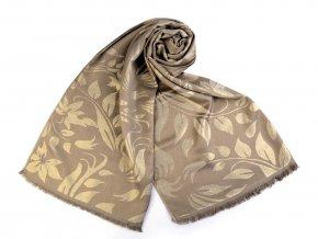 Šátek / šála s lurexem se vzorem listů 70x175 cm