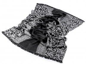 Šátek / šála s ornamenty a lurexem 70x180 cm