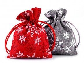 Vánoční dárkový pytlík vločky 10x13 cm