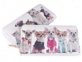 Dámská peněženka pes, kočka 10x19 cm