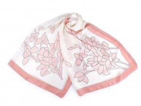 Saténový šátek / šála s květy 90x180 cm